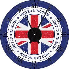 United Kingdom Grunge Flag Wall Clock Decal And Mechanism