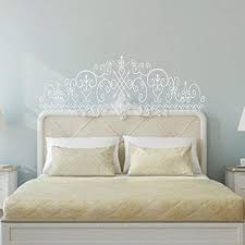 Amazon Com Saniwa Wall Decal Decor Bedroom Wall Decal Baroque Pattern Style Headboard Decal Bed Vinyl Wall Sticker Beautiful Flower Queen White Home Kitchen