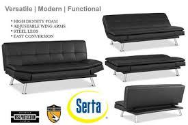 black leather futon lounger niles