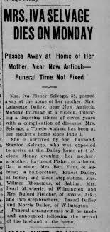 Iva (Fisher) Selvage - obituary - Newspapers.com