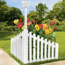 White Wood Corner Fence With Solar Powered Light Fence Landscaping Fence Decor Backyard Fences