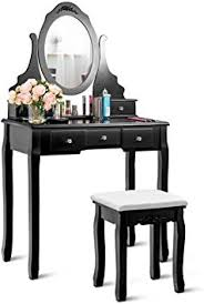 Amazon Com Giantex Vanity Set With Oval Mirror Cushioned Stool Makeup Dressing Table Large Storage With 5 Drawers Mirrored Bedroom Vanities Makeup Table For Kids Girls Women Easy Assembly Black Kitchen