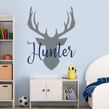 Amazon Com Name Wall Decal Antler Deer Decal Kids Room Decor Baby Boy Name Decal Woodland Decal Hunting Sticker Deer Nursery Decal Boy Decor 32 Inch In Width Kitchen Dining