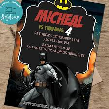 Invitacion De Cumpleanos De Nino Superheroe Batman Party Invite