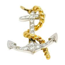 gold and diamond anchor pendant and