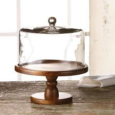 wood base and textured glass dome