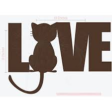 Love Cat Silhouette Vinyl Wall Decal Sticker Lettering Art 23x16 Inch Chocolate Brown Walmart Com Walmart Com