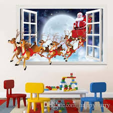 3d Christmas Santa Claus Deer Wall Sticker Living Room Faux Window Decal Kids Room Removable Decor Wall Decor Nursery Wall Decals For Boys Room From Happybarry 1 8 Dhgate Com