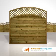 Convex Arched Lattice Top Fence Panels 6ft X 6ft Brown
