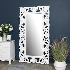 large ornate white wall floor mirror