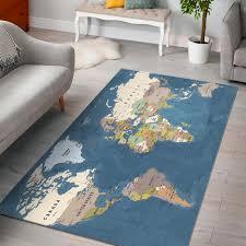 Blue World Map Area Rug In 2020 World Map Rug Map Rug Rug Design