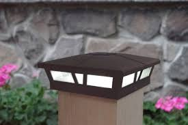 Brown Solar Fence Post Lights Two 5x5 Or 6x6 Metal Warm White Led