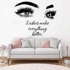 Beautiful Big Eye Eyelashes Wall Stickers Make Up Quotes Beauty Salon Wall Decal Removable Vinyl Sofa Background Decor New Lc466 Leather Bag