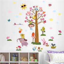 Cartoon Animals World Tree Monkey Owl Bird Wall Stickers For Kids Rooms Children Wall Decal Nursery Bedroom Decor Poster Mural Sticker For Kids Room Wall Stickers For Kidsbird Wall Sticker Aliexpress