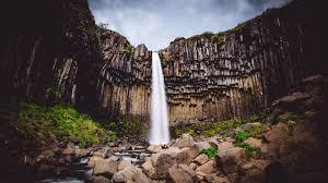 svartifoss waterfall high quality 4k