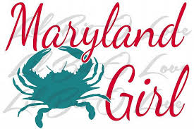 2 Color Maryland Girl Vinyl Decal Crab For Car Lilbitolove