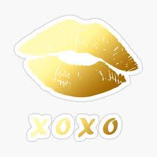 Glitter Gold Lips Stickers Redbubble