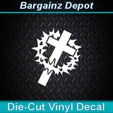 Vinyl Decal Cross Crown Of Thorns Christian Jesus Car Laptop Sticker Ebay