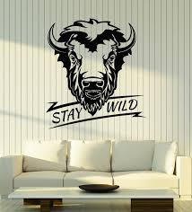 Vinyl Wall Decal Bull Head Animal Phrase Stay Wild Stickers Mural G30 Wallstickers4you