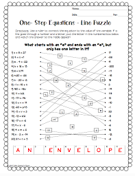 one step equations line puzzle