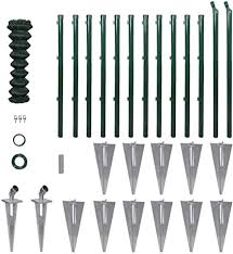 Vidaxl Chain Link Fence Set With Posts Spike Anchors 1x25m Garden Barrier Amazon Co Uk Kitchen Home