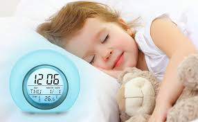 Amazon Com Outerdo Kids Alarm Clock Children S Light Alarm Clock For Bedrooms 7 Color Changing Bedside Clock For Boys Girls With Indoor Temperature Touch Control And Snoozing Blue Kitchen Dining