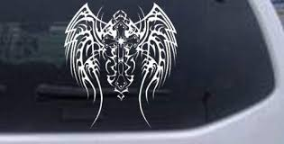 Amazon Com Rad Dezigns Tribal Wings And Cross Decal Christian Car Window Wall Laptop Decal Sticker White 8in X 8 9in Automotive