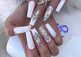 white acrylic nail designs