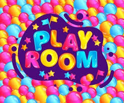 Play Room Banner For Fun Kids Game Zone Cute Text Sticker With Confetti On Colorful Bubble Background Child Balloon Pit Or Activity Park Sign Children Entertainment Center Vector Illustration موقع تصميمي