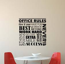Amazon Com Office Rules Wall Decal Quote Inspirational Lettering Vinyl Sticker Motivational Boss Gift Decorations Home Bedroom Decor Art Poster Mural Custom Print 603 Kitchen Dining