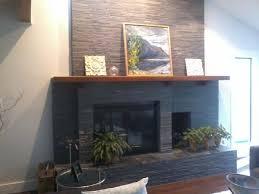 stacked slate over brick fireplace