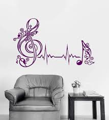 Amazon Com Heartbeat Vinyl Wall Decal Musical Notes Pulse Music Art Home Interior Stickers Mural And Stick Wall Decals Home Kitchen