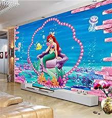 Amazon Com Kids Room 3d Photo Wallpaper Custom Size Murals Non Woven Sticker Mermaid Sea Sofa Tv Background Picture 3d Wall Mural Wallpaper 8d 450x300cm Kitchen Dining