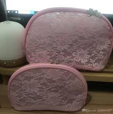 set pink lace snowflake zipper bag