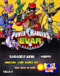 Invitacion Power Rangers Dinocharge Ranger Dino Invitaciones