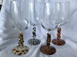 wine glasses with stem wire wrapped
