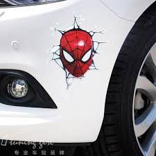 14cm 12cm Reflective Spider Man Avengers Car Sticker 3d Lifelike Funny Creative Decals For Scratch Cover Auto Tuning Styling D11 Car Stickers Aliexpress