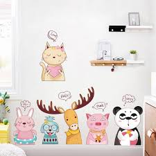 Waliicorners Kawaii Cartoon Animal Elk Panda Cat Bedside Wall Stickers For Kid S Room Creative Kindergarten Stickers Removable Baby Cot Decal Waliicorner S Store