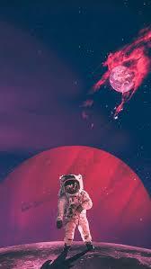 iphone wallpaper red sky astronaut