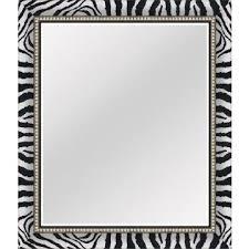 modern zebra print bathroom mirror