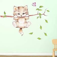 Amazon Com Amaonm Cartoon Cute Cat On The Tree Branches Wall Decals Removable Kitty Wall Stickers Decor Girls Bedroom Decal Kids Nursery Sticker Bathroom Wall Art Decoration Kitty Decals Cats Wall Sticker Home