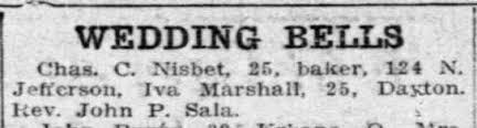 Iva Marshall 25 and Chas C Nisbet 25 - Newspapers.com