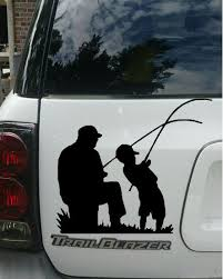 Dad And Son Fishing Vinyl Decal Car Decal Wall Decal Father And Son Family Inspiration Personalize Cute Unique Unique Decals Plenty Of Fish Car Decals Vinyl