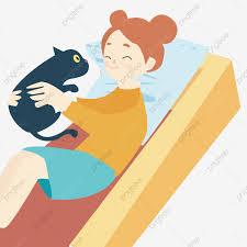 مضحك القط تصميم عنصر الفتاة على أريكة أريكة قطة مضحكة فتاة Png