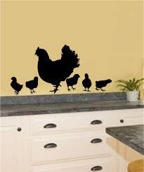 Chickens Hens Baby Chicks Vinyl Decal Wall Stickers Garden Farm Theme Kitchen Porch Decor