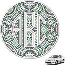 Geometric Circles Monogram Car Decal Personalized Youcustomizeit