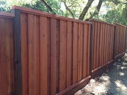 Beautiful Picture Frame Board On Board Redwood Fence Stained And Finished Redwood Fence Backyard Fences Fence Design