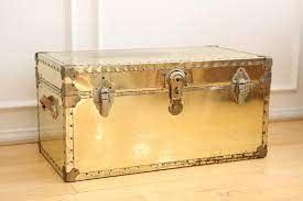 vintage brass metal trunk coffee table
