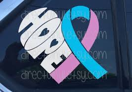 Pink And Blue Awareness Ribbon Hope Heart Window Decal Etsy