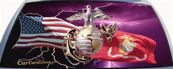Marine Corps Salute With Lightning Rear Window Graphic Rear Window Decals Window Decals For Trucks Mural